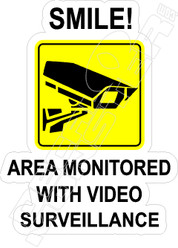 Smile Monitored Surveillance Decal Sticker