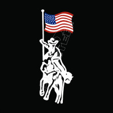 Cowboy Horse USA Flag Decal Sticker