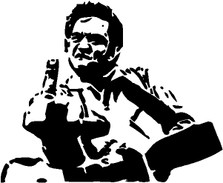 Johnny Cash Middle Finger Decal Sticker