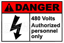Danger 010H- 480 volts authorised personnel only