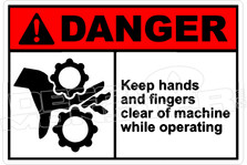 Danger 172H - keep hands and fingers clear of machine