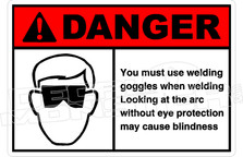 Danger 346H - you must use welding goggles when welding
