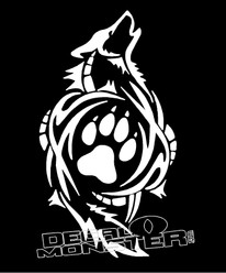Tribal Howling Wolf Bear Paw Decal