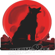 Red Moon Howling Wolf