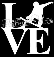 Love Snowboard Decal Sticker