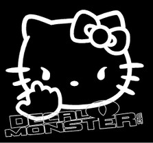 Hello Kitty Middle Finger Decal Sticker