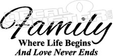 Family Love Never Ends Quote Decal Sticker