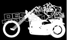 Tazmanian Devil Riding Harley Decal Sticker