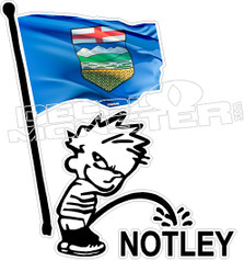 Alberta Calvin Pissing on Notley Decal Sticker