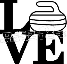 Love Curling Rock 4 Decal Sticker