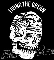 Living The Dream Skull On Island Decal Sticker