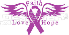 Faith Love Hope Cancer  Decal Sticker