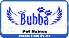 Pet Name Memorial Decal Sticker