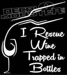 I Rescue Wine Trapped in Bottles Drink Decal Sticker