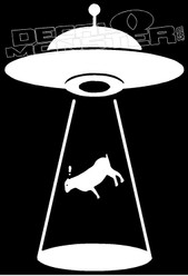UFO Cow Beam Up Guy Stuff Decal Sticker
