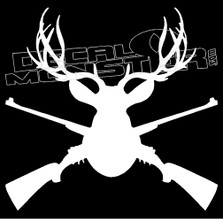 Antlers and Guns Cross Hunting Decal Sticker