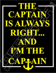 Captain Always Right Funny Decal Sticker