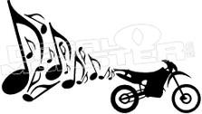 Braaap Musical Notes Dirt Bike Decal Sticker
