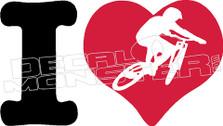 I heart Mountain Bikes Decal Sticker
