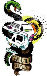Skull Bike Club Decal Sticker