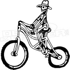 Old School Biking Skeleton Decal Sticker