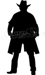 Cowboy Standing Duster Coat Silhouette Decal Sticker