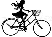 Girl Riding Bike Funny Decal Sticker