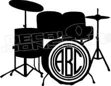Drum Kit Silhouette 1 Add Your Lettering Decal Sticker