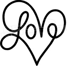 Love Heart Writing Decal Sticker