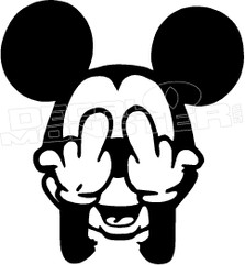 Micky Mouse Rude Middle Finger Decal Sticker