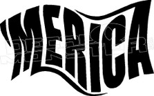 America Words 2 Flag Wave Decal Sticker