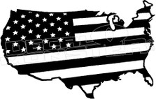America Stars and Stripes Country Shape 1 Decal Sticker