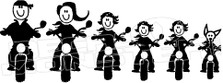 Motorcycle Biker Family 1 Decal Sticker