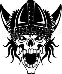 Biker Skull Viking Decal Sticker