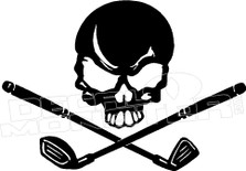 Skull and Golf Clubs Cross 1 Decal Sticker