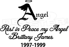 Angel In Loving Memory Of... 3 Memorial Decal Sticker