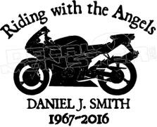 Motorcycle In Loving Memory Of... 4 Memorial decal Sticker