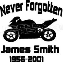 Motorcycle In Loving Memory Of... 5 Memorial decal Sticker