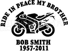 Motorcycle In Loving Memory Of... 7 Memorial decal Sticker