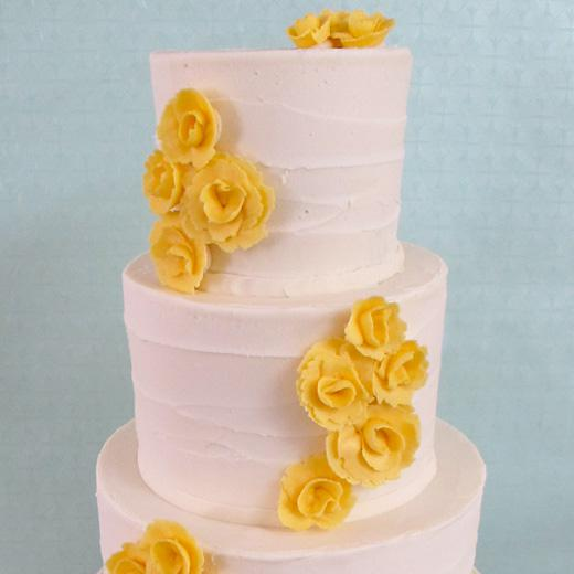 """""""Corsage"""" with Buttercream Flowers and Rustic Finish"""
