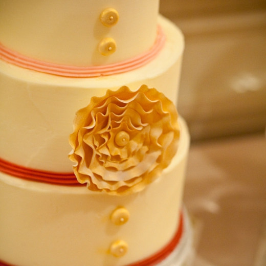 Button Cake with Stylized Sugar Flower