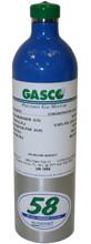 GASCO 317 Mix, Carbon Monoxide 50 PPM, Propane 25% LEL, Oxygen 19%, Balance Nitrogen in a 58 Liter ecosmart Cylinder