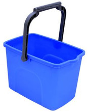 Square plastic bucket with wire handle. Holds 11lt