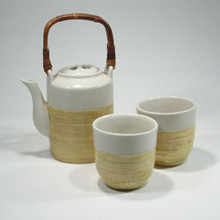 Dragonfly 3 Piece Ceramic Tea Set - Small with Bamboo Inlay