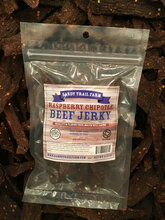 Our Raspberry Chipotle Beef Jerky is a favorite of many. The raspberry is a mild after taste.   Ingredients: Beef, Brown Sugar, Spices (Includding CHIPOTLE GROUND AND FLAKES) DRIED RASPBERRIES, SALT, NATURAL RASPBERRY FLAVOR, CITRIC ACID, NATURAL HICKORY SMOKE