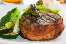 "1 1/4""Bacon Wrapped Filet Mignon 5-6 oz"