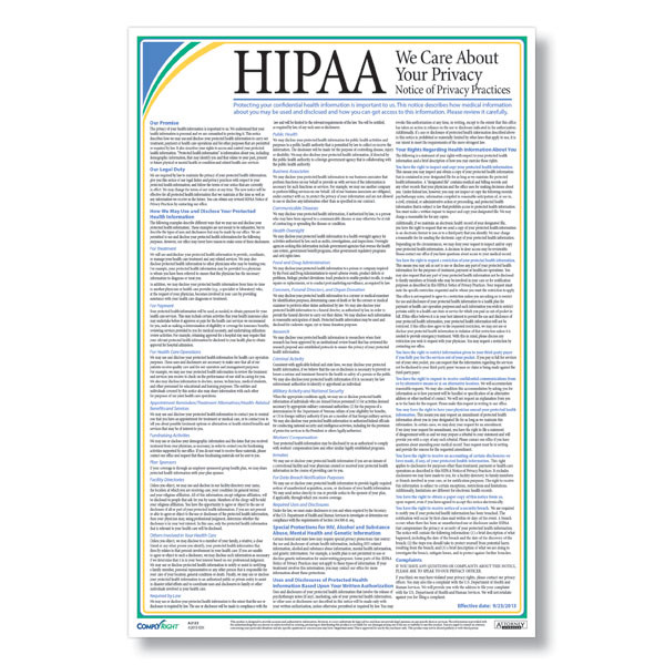 HIPAA Notice of Privacy Practices Poster - Free Shipping