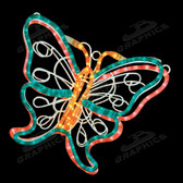 ANIMATED FLUTTERING BUTTERFLIES - GREEN/PINK - 100MODNM1406GP