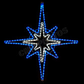 "33"" BLUE & WHITE LED ROPE LIGHT STAR MOTIF SILHOUETTE DISPLAY - 100MOL37"
