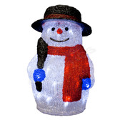 3-D Acrylic LED Snowman with Scarf - 100AMO1129 - Front View